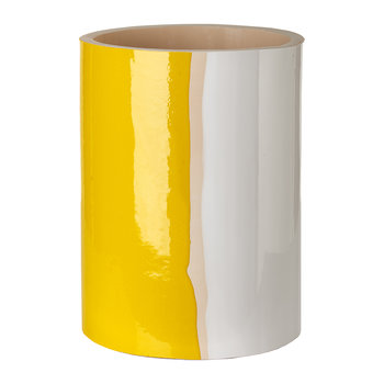Triple Colour Glazed Vase - 20cm - Yellow/White/Bronze