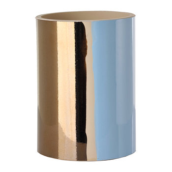 Triple Colour Glazed Vase - 20cm - Red/Light Blue/Bronze