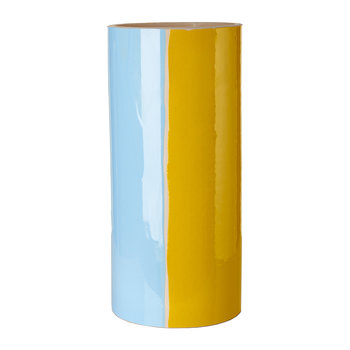Triple Colour Glazed Vase - 33cm - Yellow/Light Blue/Bronze