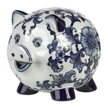 Porcelain Piggy Bank - Blue/White - Piggy