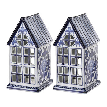 Porcelain House Ornaments - Set of 2
