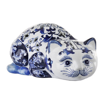 Porcelain Piggy Bank - Blue/White - Cat