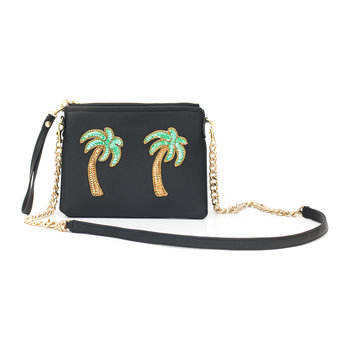 Tulum Palm Tree Shoulder Bag - Small - Black