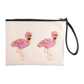 Holbox Flamingo Vegan Leather Clutch Bag - Small - Cream