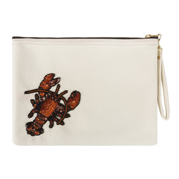 Zipolite Lobster Faux Leather Clutch Bag - Large - Cream