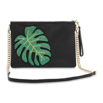 Colima Monstera Leaf Shoulder Bag - Large - Black
