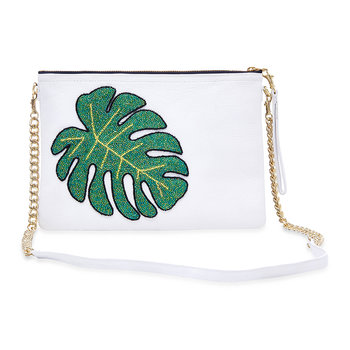 Colima Monstera Leaf Shoulder Bag - Large - White