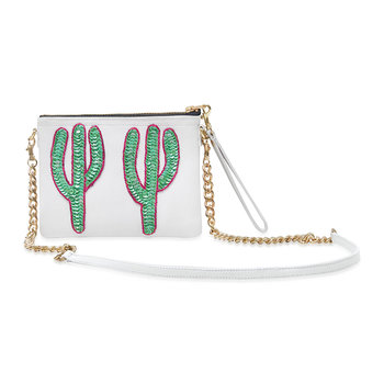 Sonora Green Cactus Shoulder Bag - Small - White