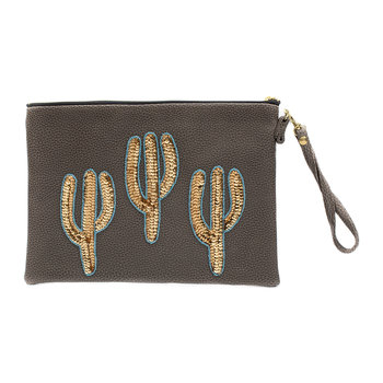 Sonora Gold Cactus Vegan Leather Clutch Bag - Large - Coffee
