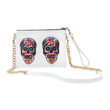 Sonora Sugar Skulls Shoulder Bag - Small - White