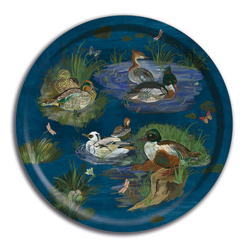 Nathalie Lété Ducks in a Creek Wooden Tray - Round