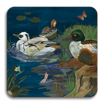 Nathalie Lete Ducks in a Creek Coaster - Smew & Shoveler Ducks