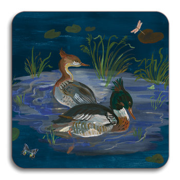 Nathalie Lete Ducks in a Creek Coaster - Merganser Duck