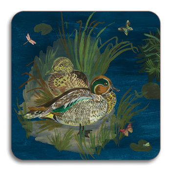 Nathalie Lete Ducks in a Creek Coaster - Teal Duck