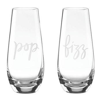 Two of a Kind Stemless Champagne Glasses - Pop & Fizz - Set of 2