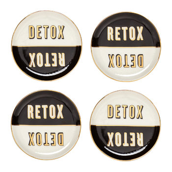 Master Cleanse Coasters - Set of 4 - Black/White/Gold