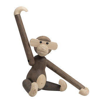 Monkey Wooden Figurine - Small - Smoked Oak