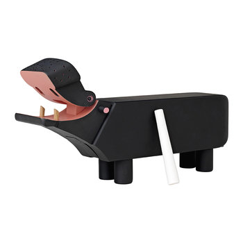 Wooden Hippo Figurine - Black
