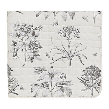 Etchings & Roses Bedspread - Dove Silver