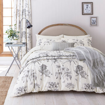 Etchings & Roses Duvet Set - Dove Silver
