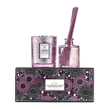 Scalloped-Edge Candle & Diffuser Giftset - Japanese Plum Bloom