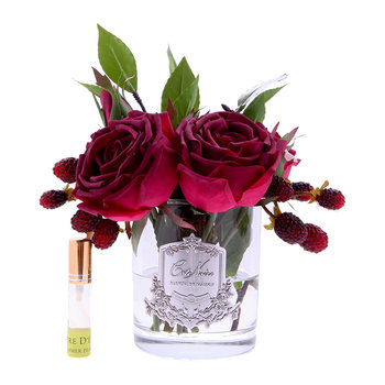 Premium Velvet Red Roses - Clear Glass Vase