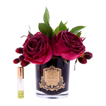 Premium Velvet Red Roses - Black Glass Vase