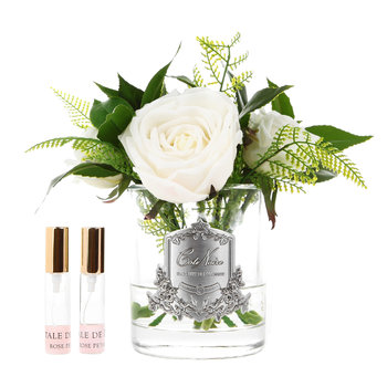 White Woodland Rose - Clear Glass Vase
