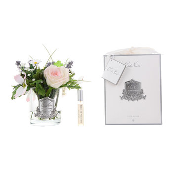 Spring Wild Flowers in Clear Glass Vase - Blush