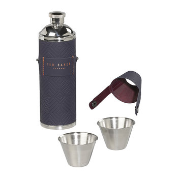 Hip Flask & Shot Cups - Blue Cadet