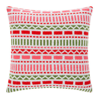 Knitted Geometric Cushion - Grey