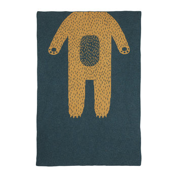 Mini Knitted Blanket - Bear - Blue/Gold