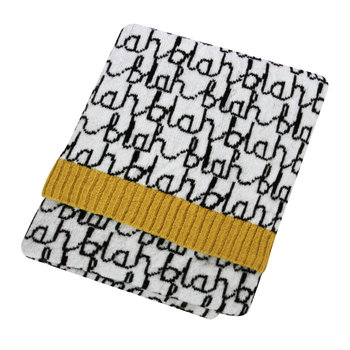 Mini Knitted Blanket - Blah Blah - Black/White