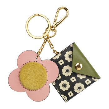 Flower Foulard Purse Key Ring - Black/Cream