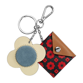 Flower Foulard Purse Key Ring - Navy/Red