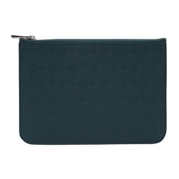 Medium Embossed Pouch - Petrol