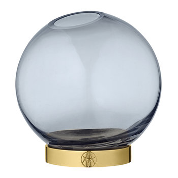 Globe Vase - Small - Navy Glass & Brass