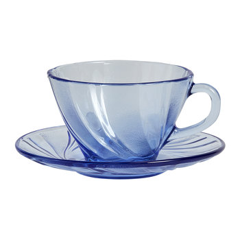 French Coffee Cup & Saucer - Blue Glass