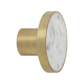 Stone Hook - White Marble & Brass