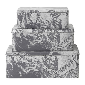 Tin Boxes - Set of 3 - Grey Marble