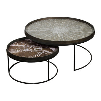 Round Tray Table Set of 2 - Extra Large - Low