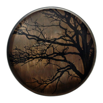 Round Tree Driftwood Tray - Large - Black