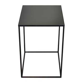 Large Charcoal Mirror Square Side Table - Mid