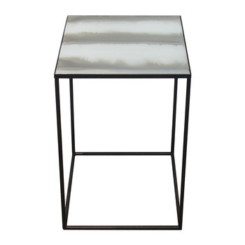 Large Champagne Stria Square Side Table - Mid