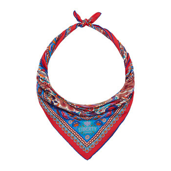 Peacock Garden Scarf - 70x70cm - Red