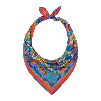Peacock Garden Scarf - 70x70cm - Orange