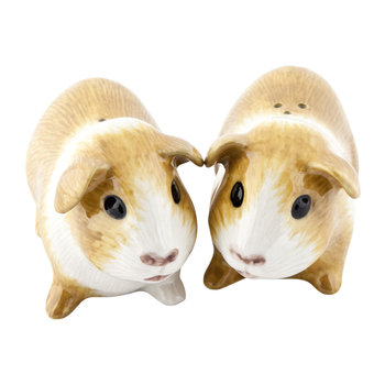 Long Haired Guinea Pig Salt & Pepper Shakers - Gold/White