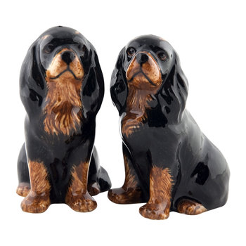 Cavalier King Charles Spaniel Salt & Pepper Shakers - Black/Tan