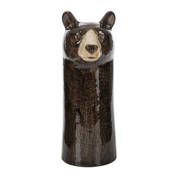 Ceramic Black Bear Vase - Large