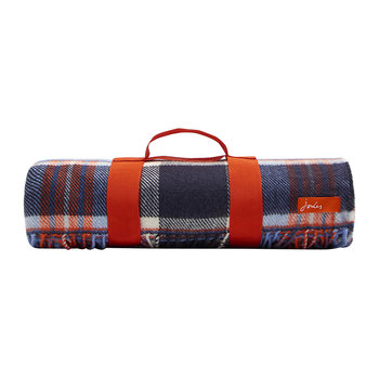 Woven Checked Picnic Blanket - French Navy